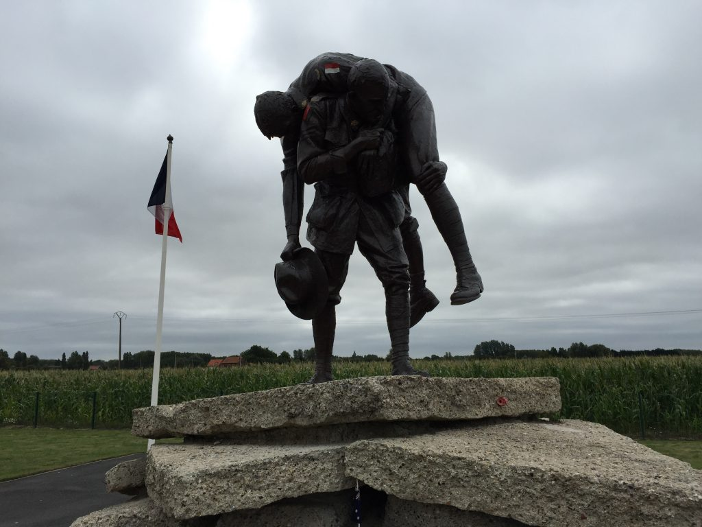 The Cobbers statue at the Australian Memorial, Fromelles.