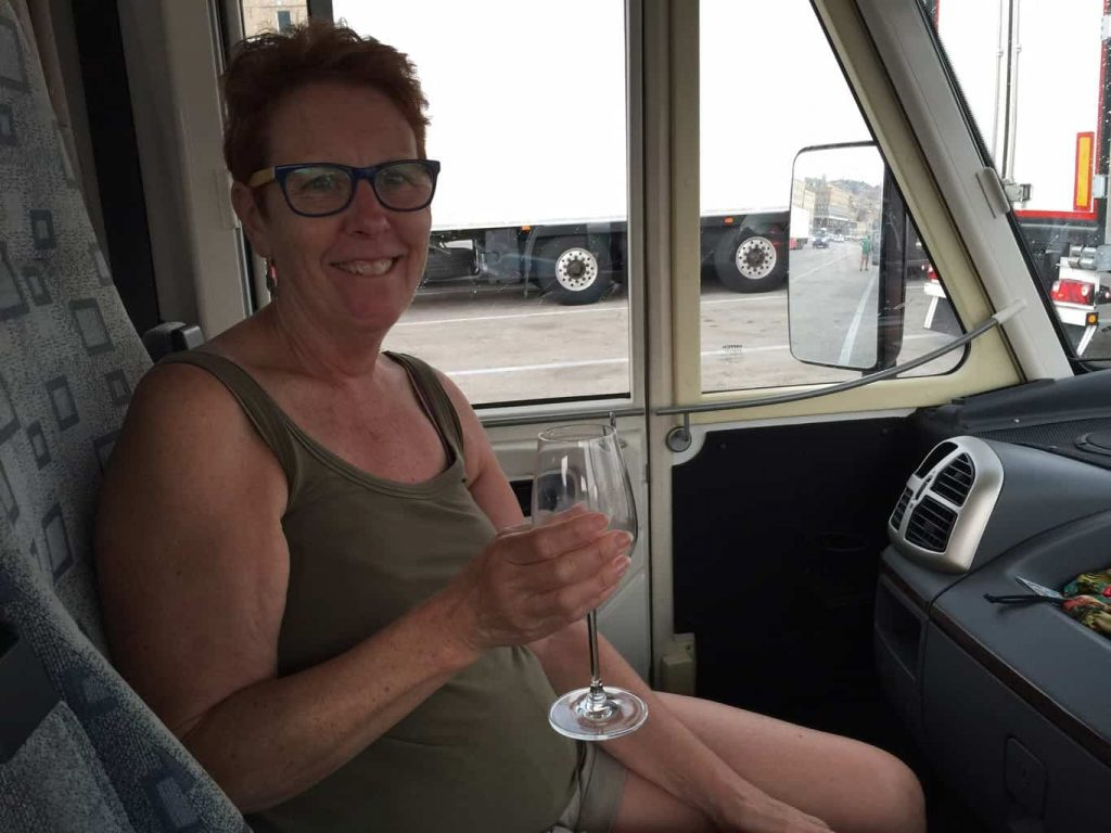 The 90 minute wait was too long for Pam and a camper car glass of wine was required