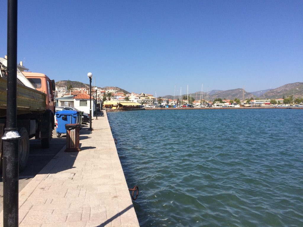 The port in Ermioni, a very pretty little village, but not that camper car friendly.