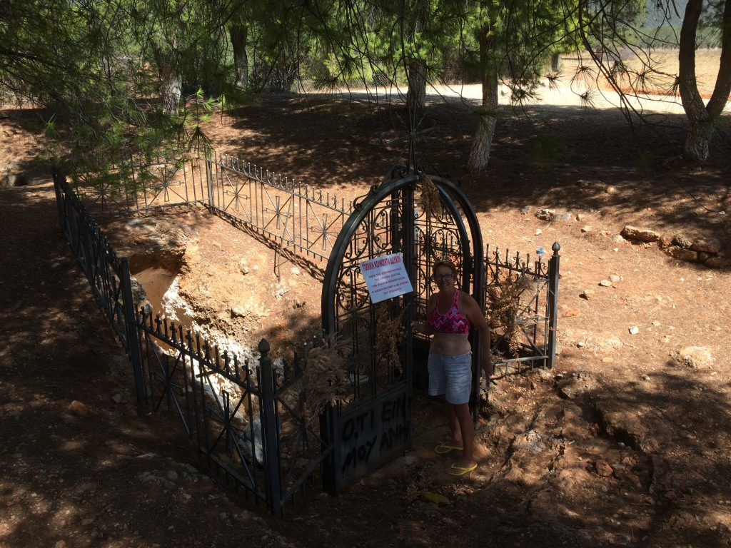 Entry into the sinkhole is through this elaborate wrought iron gate. It's a pretty little spot with a bit of shade under the pine trees and a little breeze, so we lunch here as well.