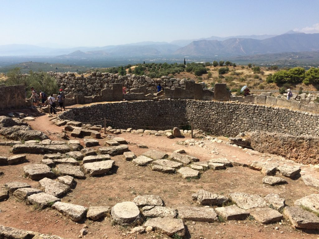 Burial Circle A, the Mycenae Kings were entombed here in shafts dug into the circles.