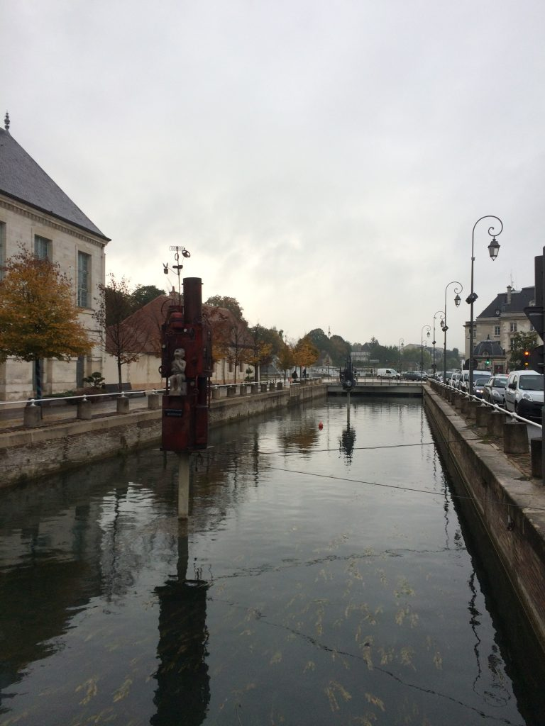 Canal artwork in Troyes.