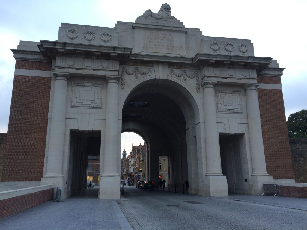 The Menan Gate in Ypres. Inscribed with the names of 55,000 allied serviceman with no known graves.