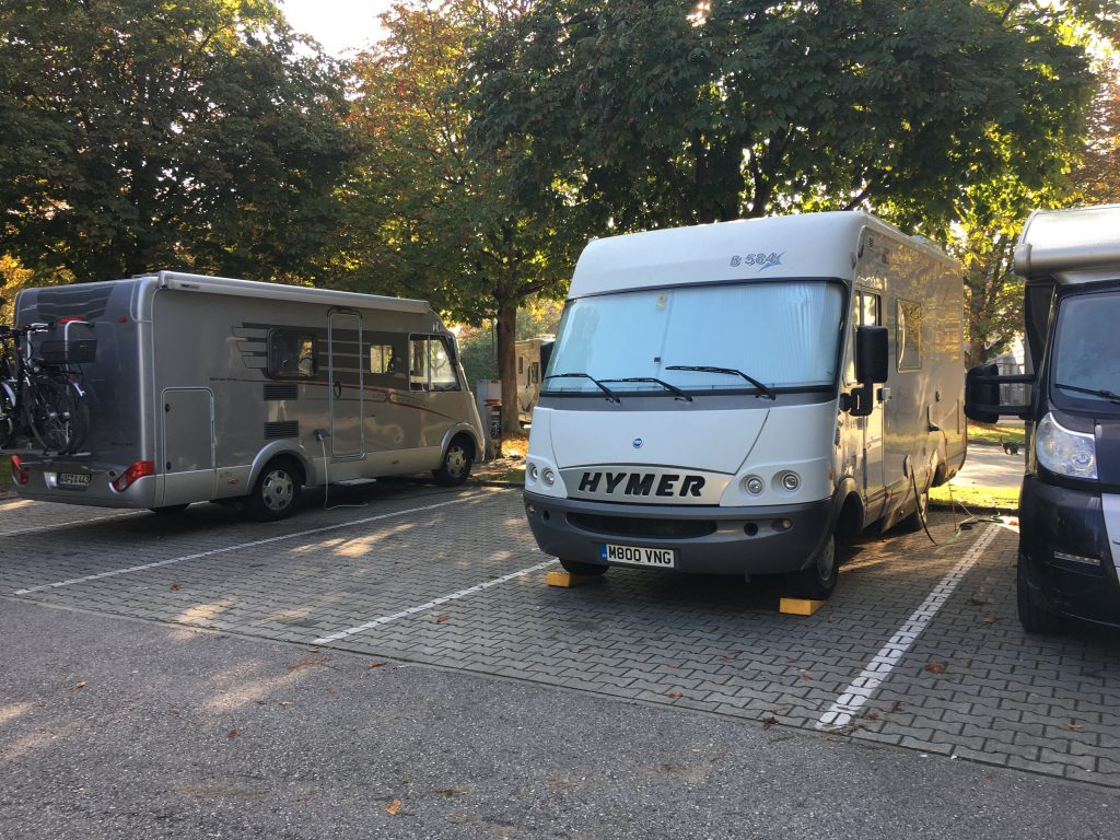 Our shady little stellplatz in Ingolstadt. €5 with power is a bargain. We recharge everything in sight and give the Hymer a vacuum as well.