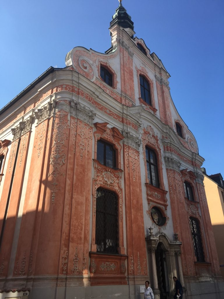 Asam's Church of Maria de Victoria in Ingolstadt. Its Baroque exterior provides a hint to it's famous interior.