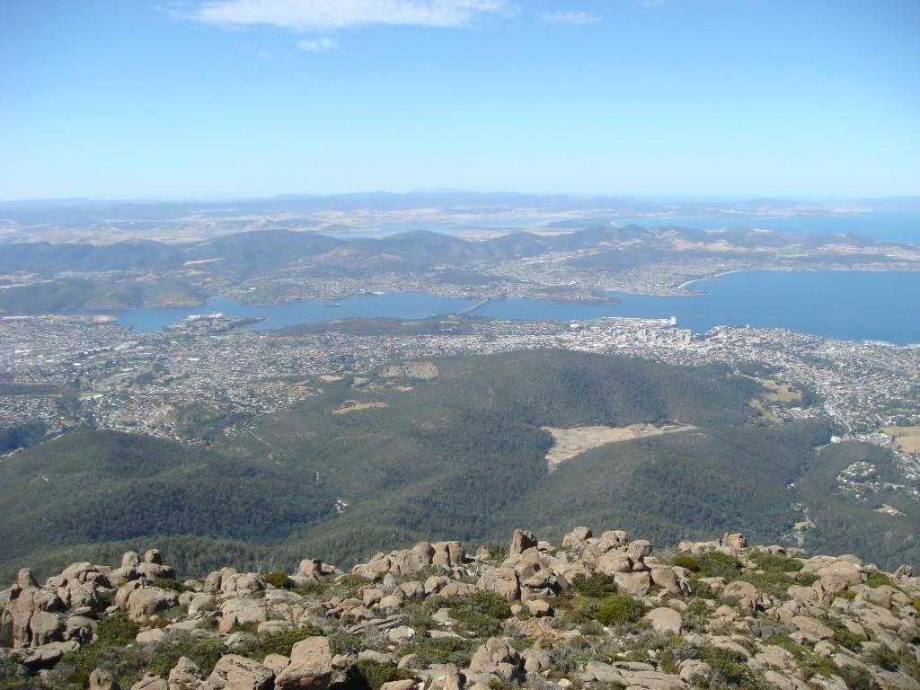 Hobart, on the Derwent River, from Mount Wellington.  Tasmania.  2010.