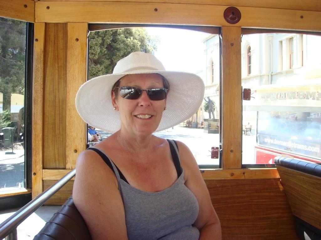 Pam on the tourist shuttle, Fremantle, WA. 2010