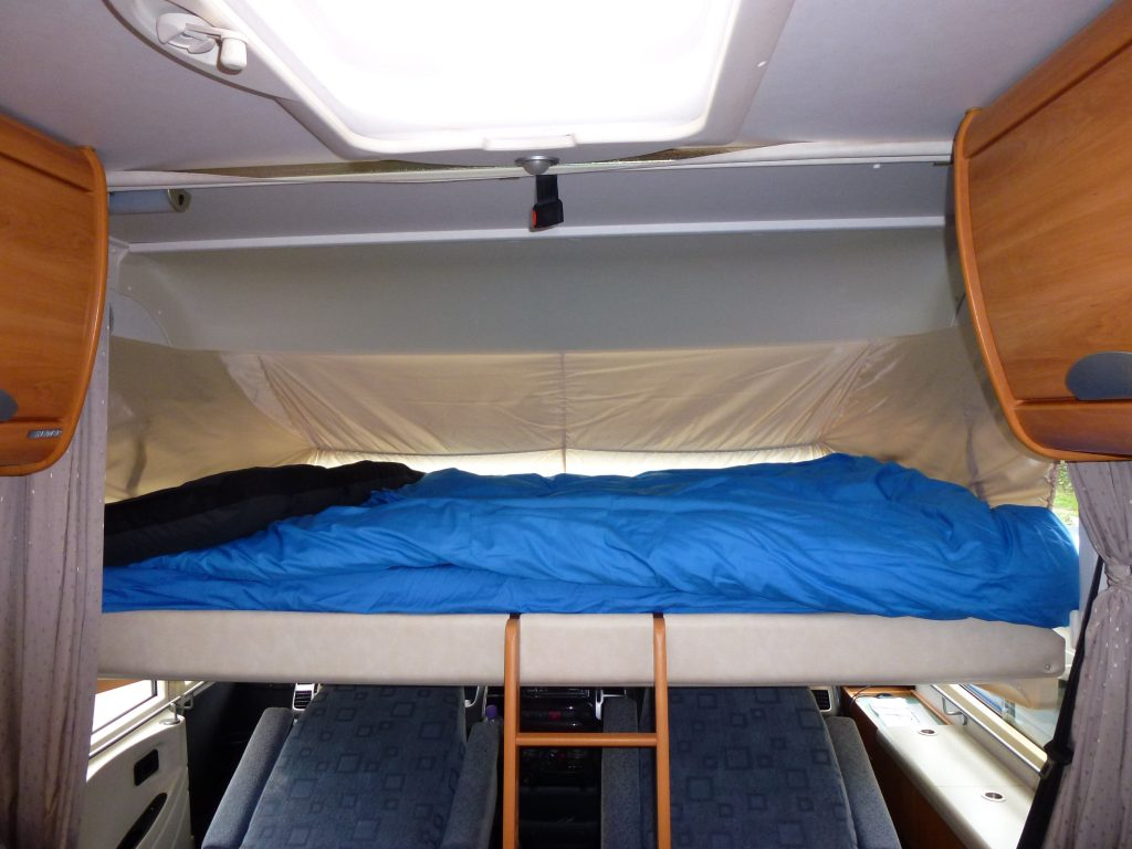 The Hymer drop down bed, a little inconvenient to get in and out off, but a great space saver and very comfortable.